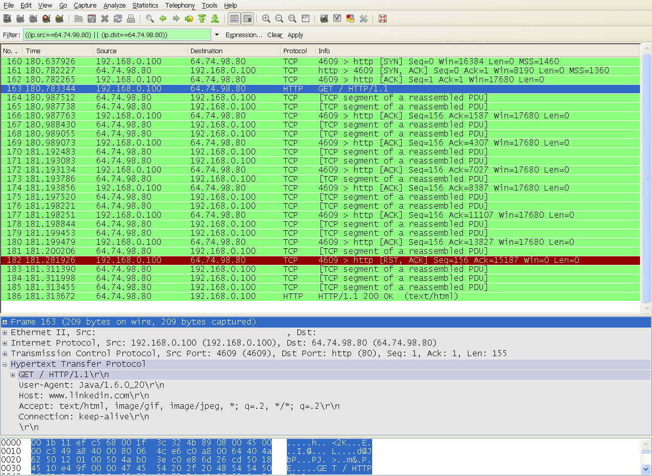 Wireshark filter example